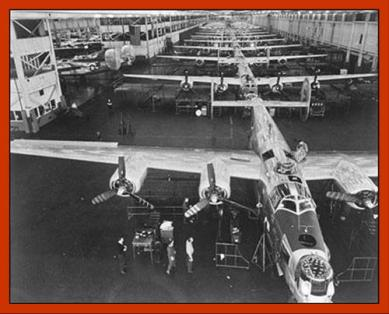 "Ford Motor Company produced ""A-Bomber an Hour"" at Willow Run Plan during WWII for USAF using mass production methods"