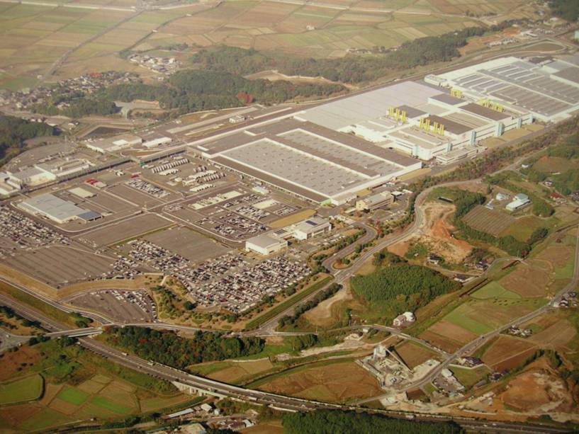 An aerial view of one of the many plants of Toyota Motor Corporation